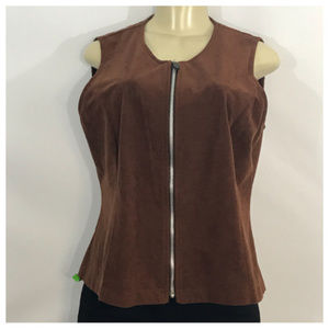 Brown Vest With Silver Zipper Large